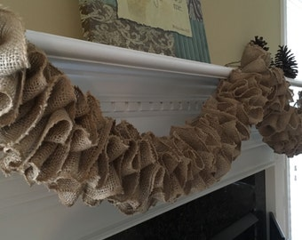 Burlap Garland: Ruffled Burlap Garland Sold by the Yard; Wedding Decoration; Christmas Garland; Natural Burlap Decor, Other Colors Available
