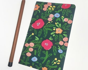 Mini journal covered with Midnight Garden fine paper