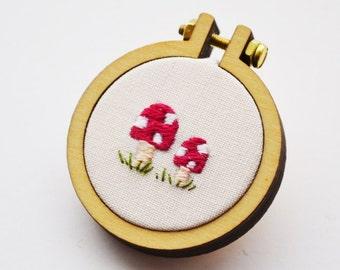 Toadstool Brooch Miniature Hand Embroidery Hoop 4cm