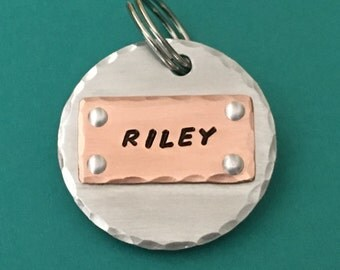 Large dog tag, pet id tag, custom id tag, mixed metal tag, dog tags, dog tag for dogs, personalized dog tag