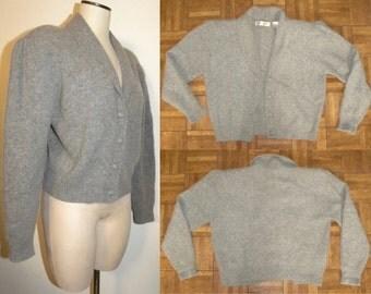 1980s 80s Soft Cardigan / Lambswool Angora sweater / jumper / Gray / Vintage size Medium