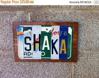 ON SALE 5 Letters or Numbers - Custom Made To Order License Plate Sign Using Recycled License Plates