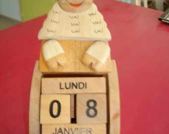 sheep perpetual calendar wooden
