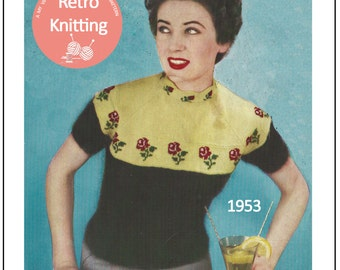 1950s Rose Fair Isle Sweater Knitting Pattern - PDF  Instant Download