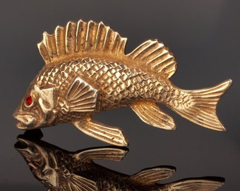 Vintage Fish Pin Brooch, Silver with Gold Vermeil Snapper Fish
