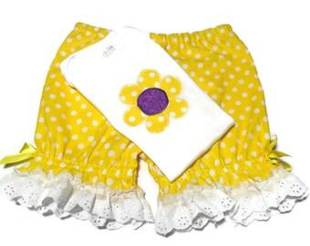Toddler Girl Outfit, Girls Daisy outfit, Girl Summer Clothes, Daisy Bodysuit, Girls Bloomer Set, Girl size 18 Months, Girls Bodysuit