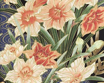 Narcissus Blossoms - Peach/Persimmon Asian Japanese Fabric (Per 1/2 Yd)