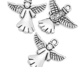 5 Angel Antiqued Tibetan Silver Charms