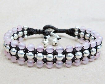 Rose Quartz Beaded Woven Bracelet with Silver Color Bead.