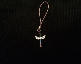 Blue & Pink Dragonfly Charm Strap
