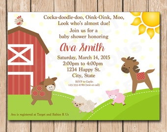 Farm Baby Shower Invitation | Animals, Cow, Pig, Rooster, Horse, Sheep - 1.00 each printed