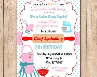 Baking Birthday Party Invitation   Cooking, Sweet Chef, Vintage Cook, Bake, Sprinkles - 1.00 each printed or 12.00 DIY file