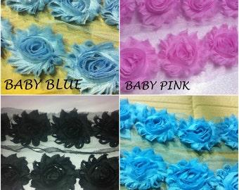 Flower Lace Trim - Frayed Chiffon Rose - Shabby Chic Bridal Flowers (by yard)