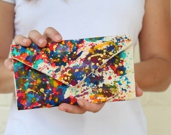 Painted womens wallet - Travel wallet - Map of the world wallet - Artistic wallet - Women's wallet - Map of the world