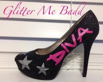 DIVA glitter heels