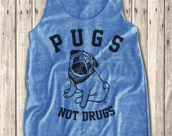 Pugs Not drugs graphic print  Women's Racerback Tank Top