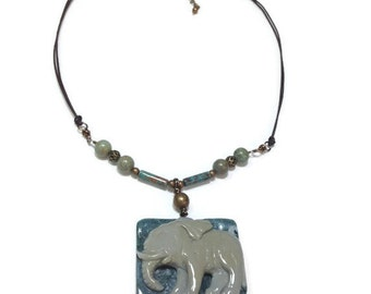 Carved Elephant, Succor Creek Jasper, Calsilica, African Turquoise, One of a Kind, Mother's Day Gift, Statement Necklace, Elephant Jewellery