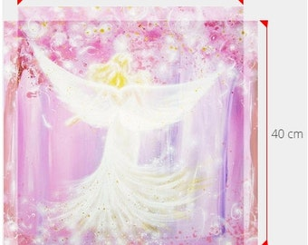 """Big size angel print on canvas in 16x16 or 16x24 inches: """"You make me happy"""" canvas art on wooden frame based on the original artwork"""