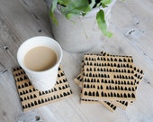 Wood Coasters, Modern Minimalist Coasters, Black Geometric Design, Coaster Set, Scandinavian Modern Drink Coaster, Christmas Gift for Men
