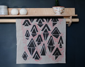 Linen Tea Towel - Hand Printed with Geometric Triangle Pattern - Grey and Red on Natural Linen
