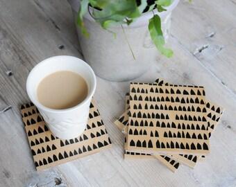 Wood Coasters | Modern Minimalist Coasters | Black Geometric Design | Coaster Set | Gift for Men | Scandinavian Modern Drink Coaster Set