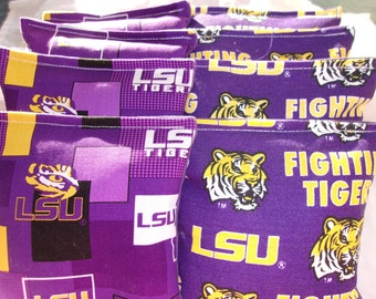 8 ACA Regulation Cornhole Bags - NCAA LSU Louisiana State University Tigers on 2 Awesome Prints