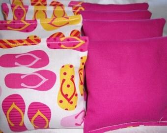 8 ACA Regulation Cornhole Bags - Flip Flops and Solid Fuchsia Pink