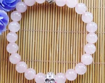 Rose Quartz Beaded Bracelet with Skull Bead