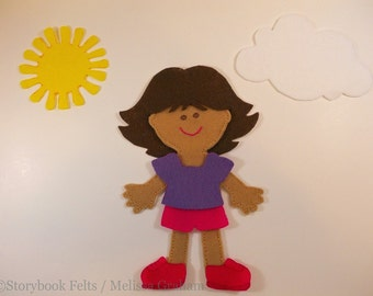 SHOP CLOSING SALE - Felt Doll Outfit Weather Girl Fun Felt Dress Up Set Without Doll Felt Board Story Board Quiet Book Non Paper Doll