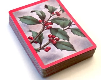 Deck the Halls Playing Cards, Holly Berries and Leaves Deck, Christmas Single Deck, Complete Set, Red Berries, Holly John Herrel Made in USA