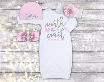 Newborn Outfit Girl, Baby Shower Gift, Newborn Girl Coming Home Outfit, Newborn Girl Take Home Outfit, Newborn Girl Clothes, Newborn Gown