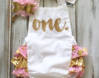 Pink Gold 1st Birthday Girl Outfit- Gold Pink Ruffle Romper- Pink Gold Birthday Romper- Girl Pink Gold Romper Headband- Gold Sequin Romper