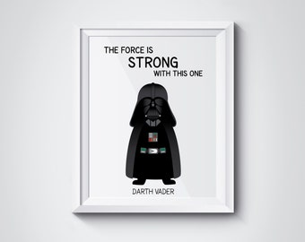 Darth Vader Nursery Star Wars Wall art printable - The Force is strong with this one - PDF DIY Printable wall art - 8x10 inch