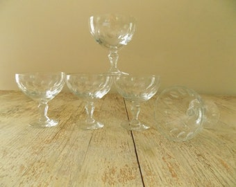 Vintage Crystal Low Champagne Coupes | Thumbprint Clear Champagne Glasses | Dessert or Sherbet Set