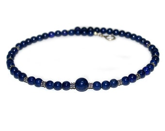 Men's Necklace, Bead Necklace, Gift for Man, Lapis Lazuli and Sterling Silver Beads Necklace, Necklace for Man, Men's Beaded Necklace