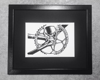 Bicycle art linocut print