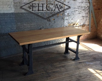 Industrial Dining Room Table/Office Desk With Cast Iron Legs
