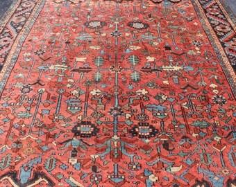 Antique 1910 Persian Heriz Rug 8'8'' x 11'11''