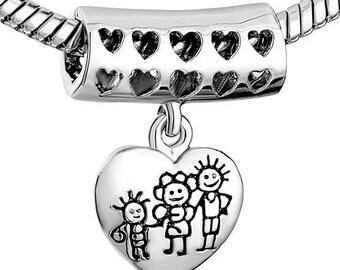 Family Silver Bead Dangle Charm Fits Trollbeads Chamilia Biagi European Charm Bracelet and European Necklace, Large Hole Bead, European Bead