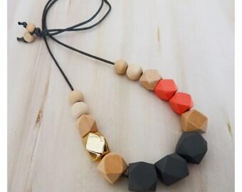 Geometric Wooden necklace/statementnecklace/woodnecklace/geometricwoodnecklace/goldbeads/geometricnecklace/trendingjewellery/necklace