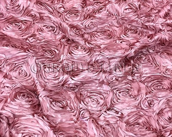 Rose Satin in Dusty Rose - Decorative Fabric With A Rose Embroidery Throughout - Best for Weddings, Bridal Parties, and Events