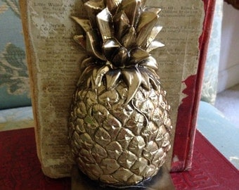 Brass Pineapple Book End with Curled Back