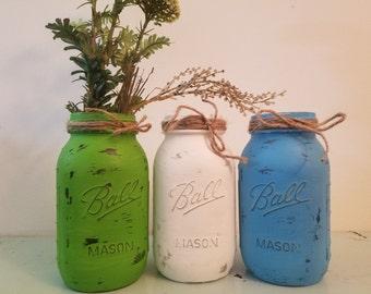 Distressed Green, White, and Blue Mason Jar, Painted Mason Jar, Wedding, Baby Shower