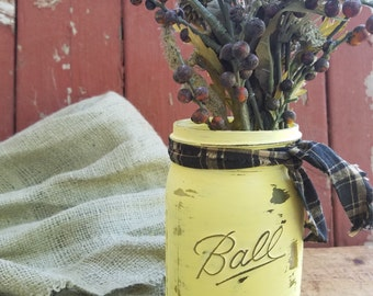 SALE! Rustic Mason Jar, Painted Mason Jar, Rustic Wedding Decor, Baby Shower Decor, Yellow Mason Jar, Fall Decor, Fall Centerpiece
