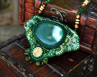 Embroidered Green Agate Necklace Seed Bead Necklace Bead Embroidery Necklace Beaded Necklace Beadwork Necklace Bead Embroidered Jewelry Gift