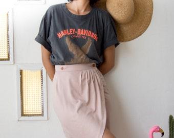 Wrap pencil skirt in Blush