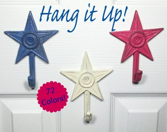Star Wall Hanger Hooks Set of 3 Cast Iron Shabby Chic in Blue, White, Pink