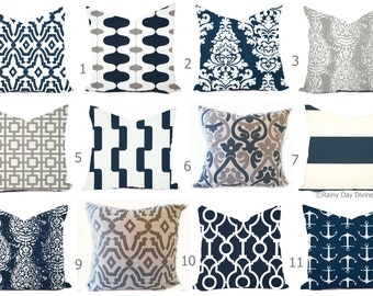 Outdoor Pillows  or Indoor  Custom Cover - Shades of Blue Navy Grey Gray Modern Geometric  18x18, 16x16 all sizes