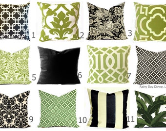 Outdoor Pillows or Indoor Custom Cover - Green Olive Grass Kiwi Ivory Black Ebony Modern Geometric Tribal Quatrefoil 18x18, 16x16