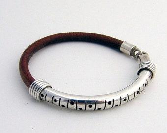 SaLe! sALe! Leather and Sterling Bangle Bracelet
